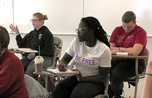 Student in a class at Bucks County Community College