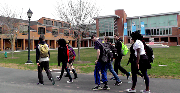 Students at Bucks County Community College campus
