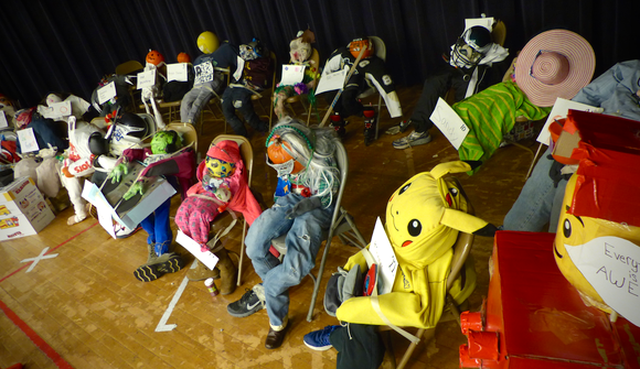 Scarecrows created by the fourth grade on display at Buck Elementary