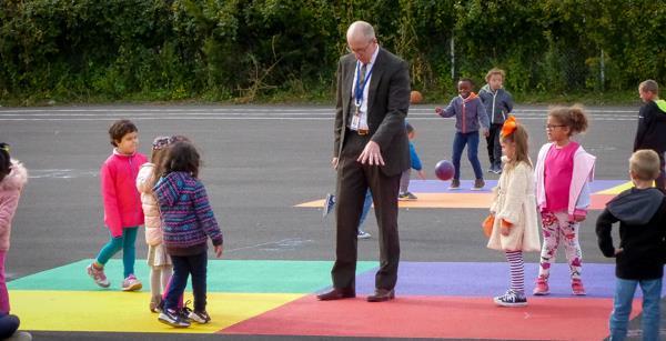 Superintendent Jones visits the playground at Schweitzer Elementary