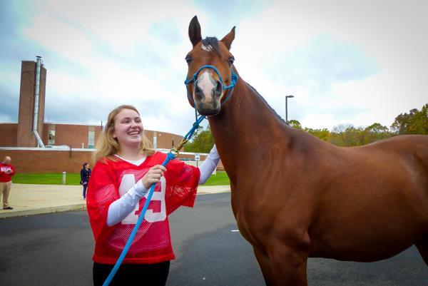 A horse visits Neshaminy High School