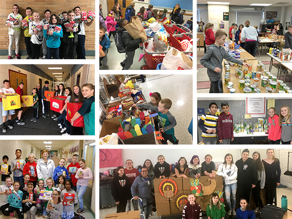 Collage of holiday donation photos