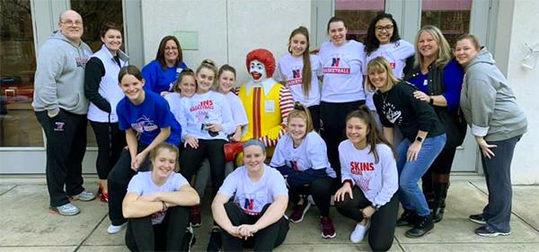 Girls basketball team at Ronald McDonald House