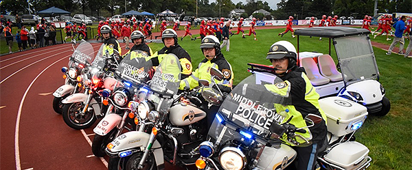 Police motorcycles at Neshaminy HS football game