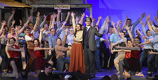 Cast of Crazy for You takes their bows on stage in costume