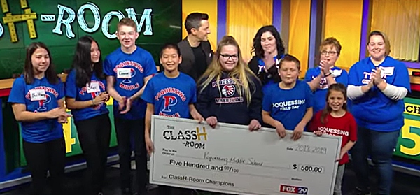 ClassH-Room contestants hold up contribution check from Fox 29