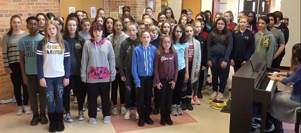 Peace vigil at Carl Sandburg Middle School