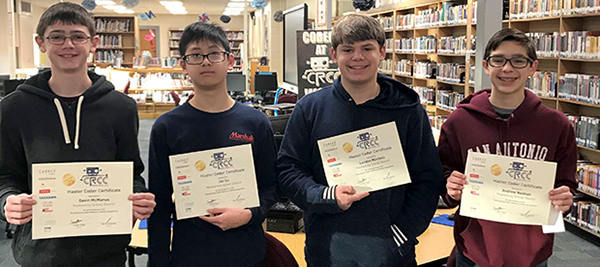 Students with coding certificates at Carl Sandburg MS