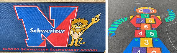 New carpet and playground stencil at Schweitzer Elementary