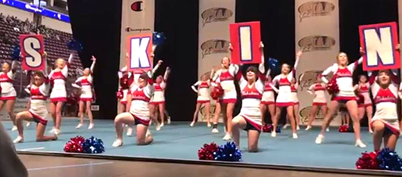 Neshaminy cheerleaders perform at Hershey