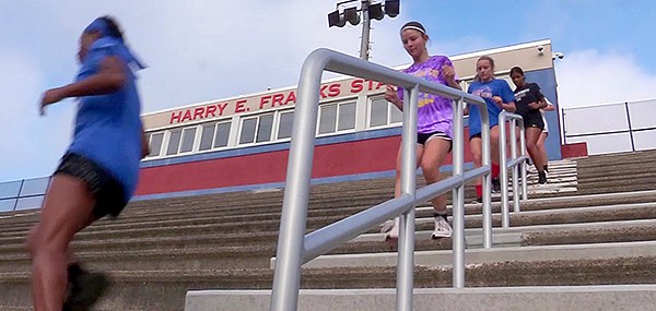 Runners step past new stadium rails at Neshaminy HS