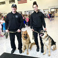 K-9 dogs and officers