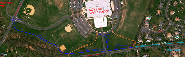 Aerial map photo of trail at Maple Point MS