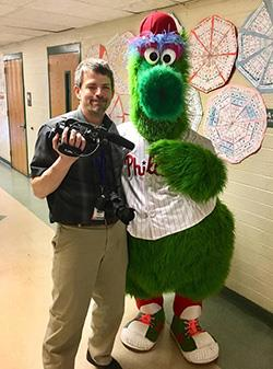 Chris Stanley and Phillie Phanatic