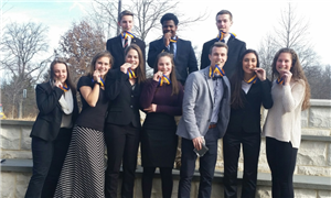 Neshaminy High School Future Business Leaders of America club members pose with their award medals.
