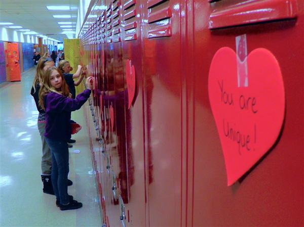 Students get a surprise Valentines message