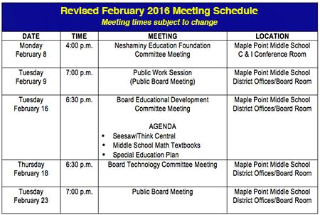 February meetings