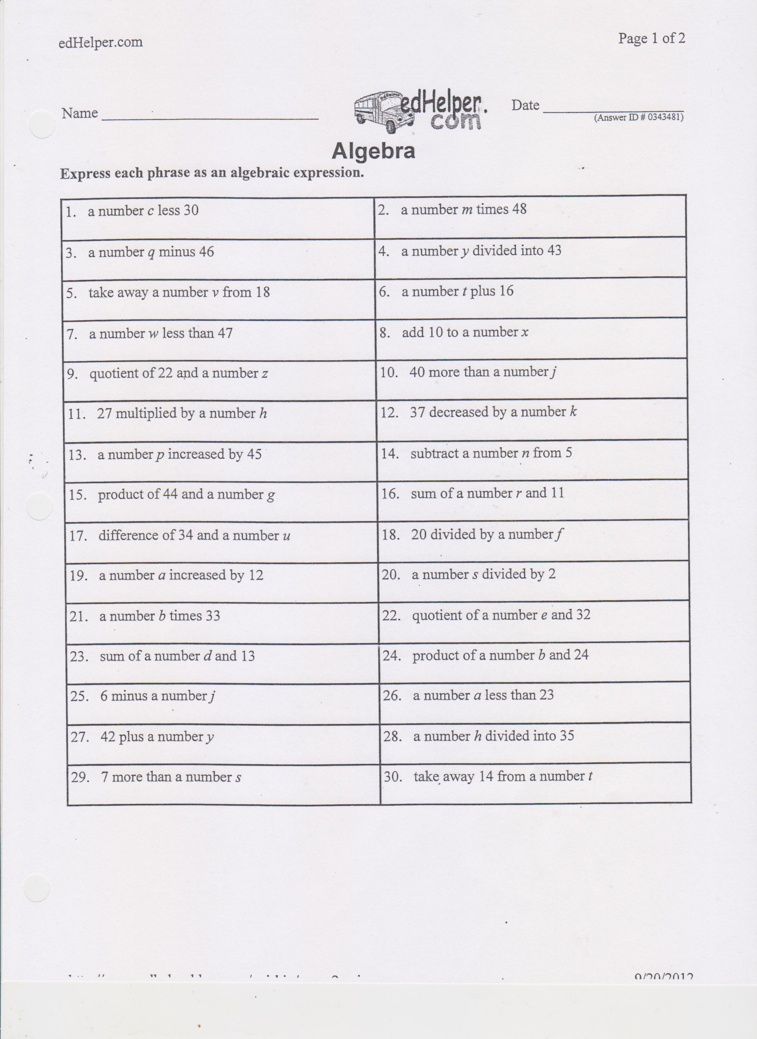 worksheet Translating Words Into Algebraic Expressions Worksheet translating algebraic phrases worksheet abitlikethis a algebra worksheet