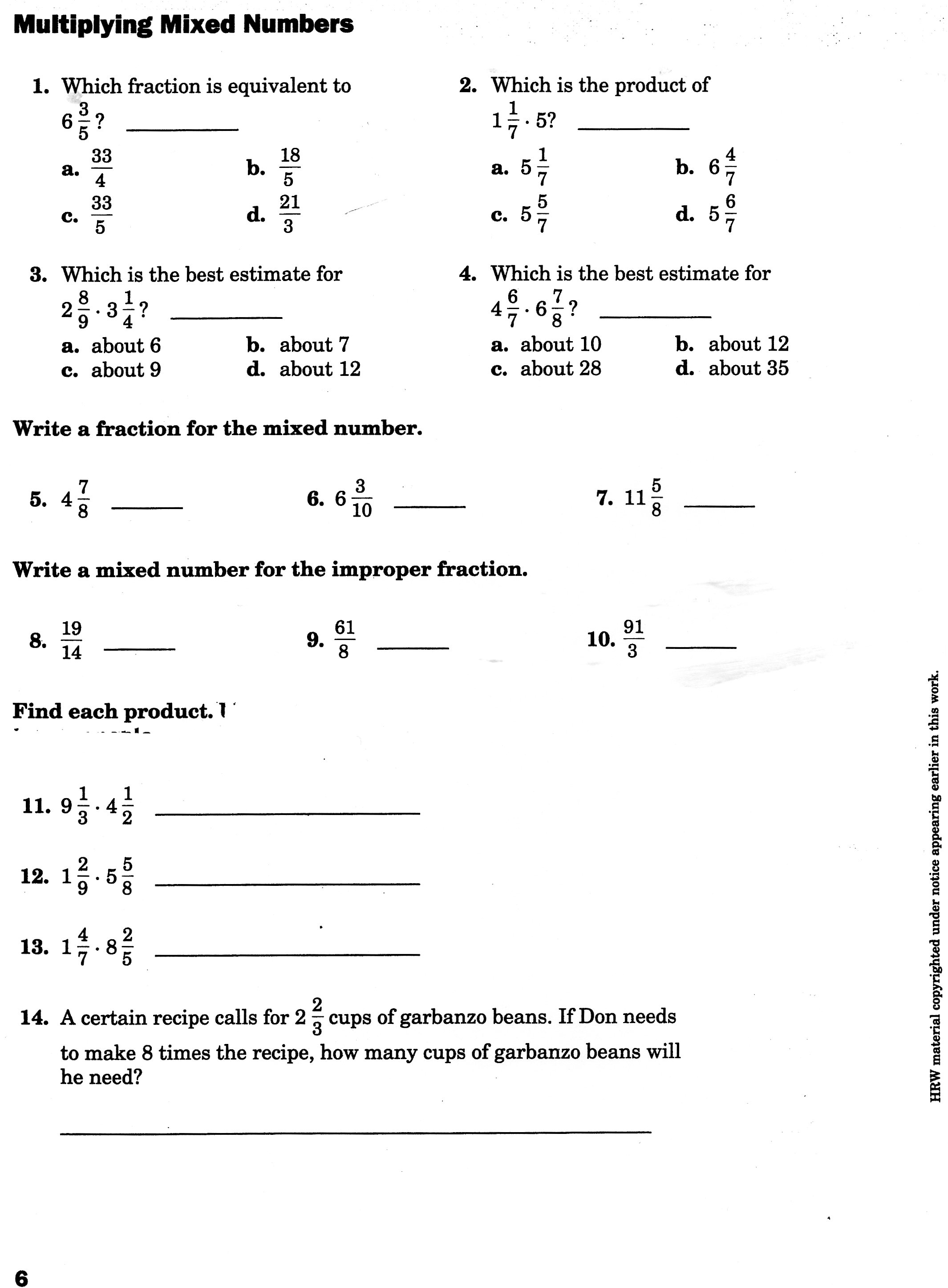 Multiplying Mixed Numbers And Fractions Worksheets. Multiply Mixed ...