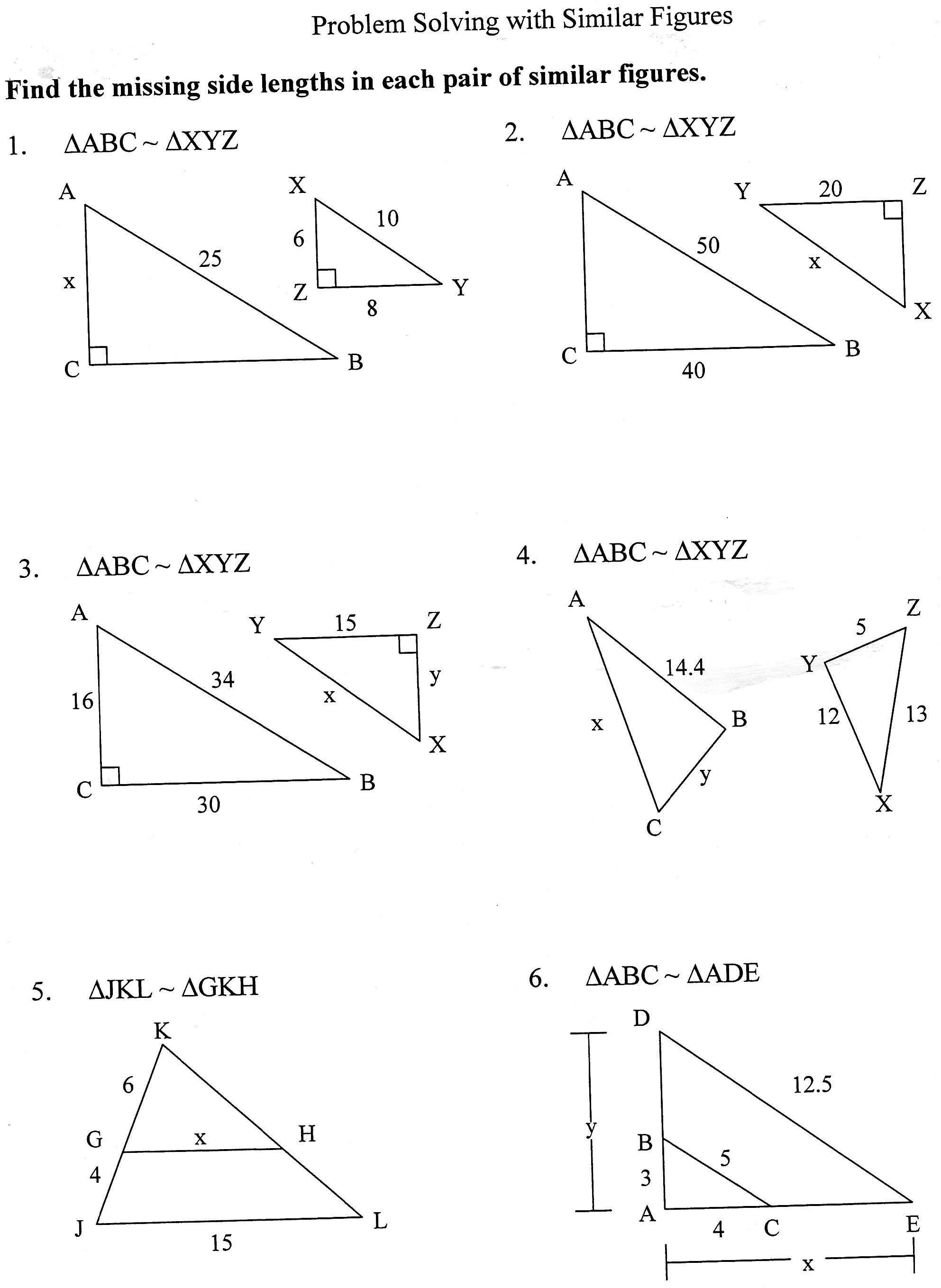Printables Similar Figures Worksheet pictures similar triangles worksheet kaessey collection photos kaessey